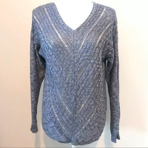 Cloud Chaser Open Knit Sweater Large Blue